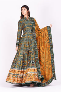 Buy green and mustard printed patola silk Anarkali suit online in USA. Make a stunning fashion statement at weddings and special occasions with an exquisite collection of designer Anarkali suits, traditional salwar suits, designer lehengas from Pure Elegance Indian fashion store in USA. -full view