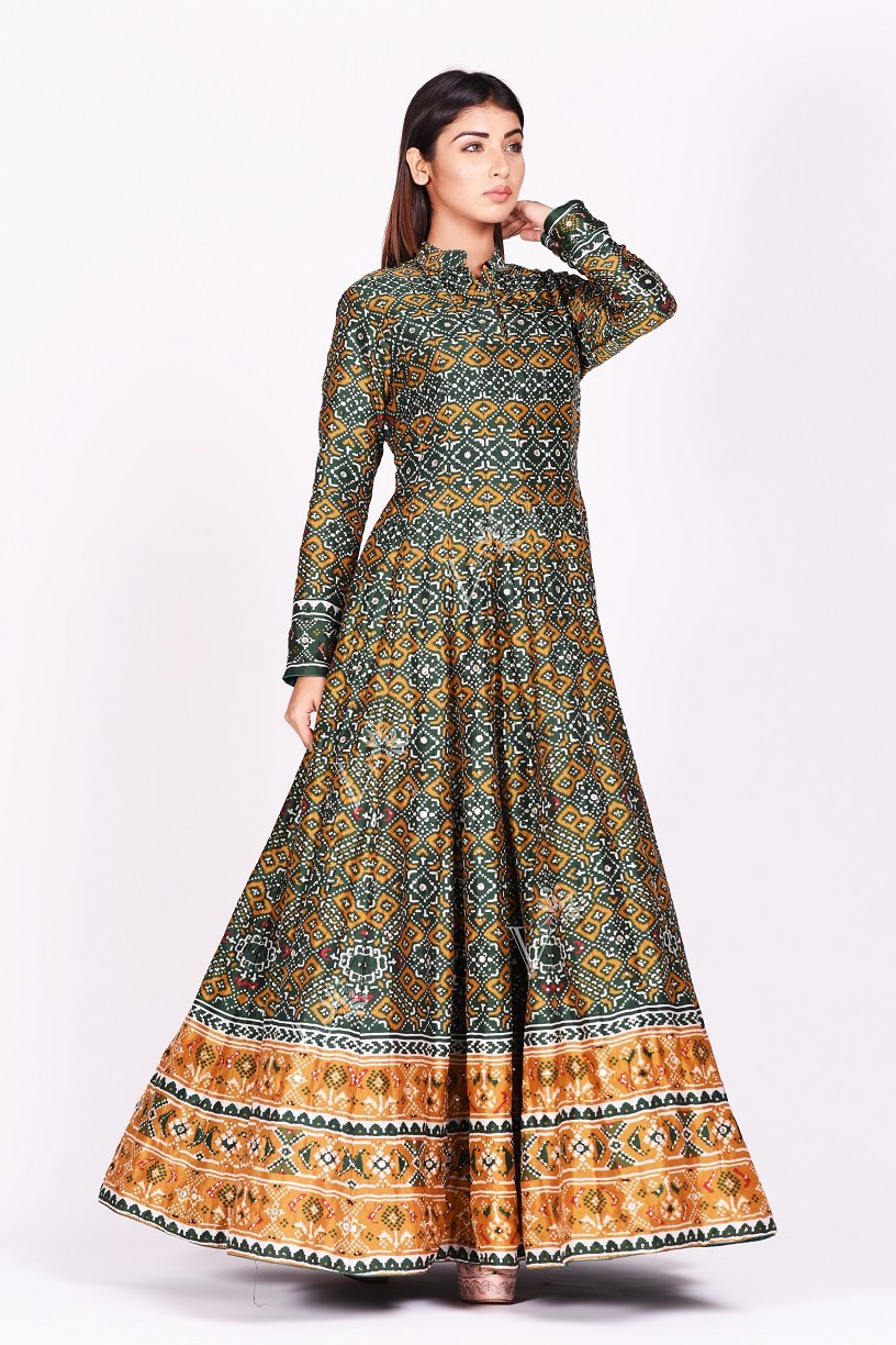 Buy green and mustard printed patola silk Anarkali suit online in USA. Make a stunning fashion statement at weddings and special occasions with an exquisite collection of designer Anarkali suits, traditional salwar suits, designer lehengas from Pure Elegance Indian fashion store in USA. -side3