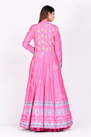 Buy pink embroidered and printed chanderi silk Anarkali online in USA with dupatta. Make a stunning fashion statement at weddings and special occasions with an exquisite collection of designer Anarkali suits, traditional salwar suits, designer lehengas from Pure Elegance Indian fashion store in USA. -back