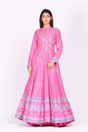 Buy pink embroidered and printed chanderi silk Anarkali online in USA with dupatta. Make a stunning fashion statement at weddings and special occasions with an exquisite collection of designer Anarkali suits, traditional salwar suits, designer lehengas from Pure Elegance Indian fashion store in USA. -closeup