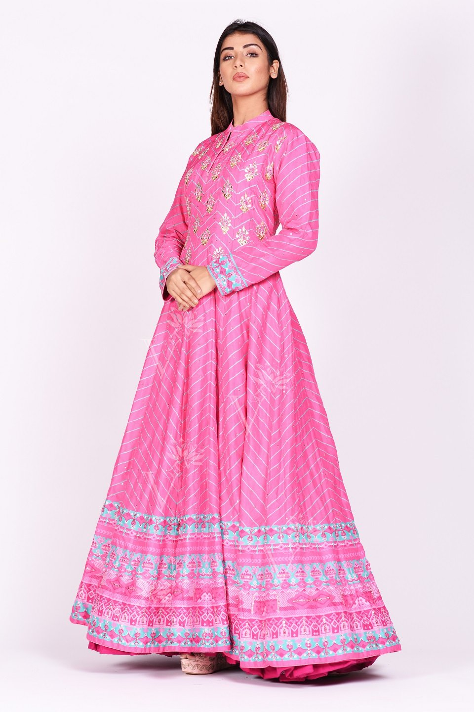 Buy pink embroidered and printed chanderi silk Anarkali online in USA with dupatta. Make a stunning fashion statement at weddings and special occasions with an exquisite collection of designer Anarkali suits, traditional salwar suits, designer lehengas from Pure Elegance Indian fashion store in USA. -side view