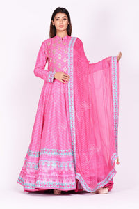 Buy pink embroidered and printed chanderi silk Anarkali online in USA with dupatta. Make a stunning fashion statement at weddings and special occasions with an exquisite collection of designer Anarkali suits, traditional salwar suits, designer lehengas from Pure Elegance Indian fashion store in USA. -full view