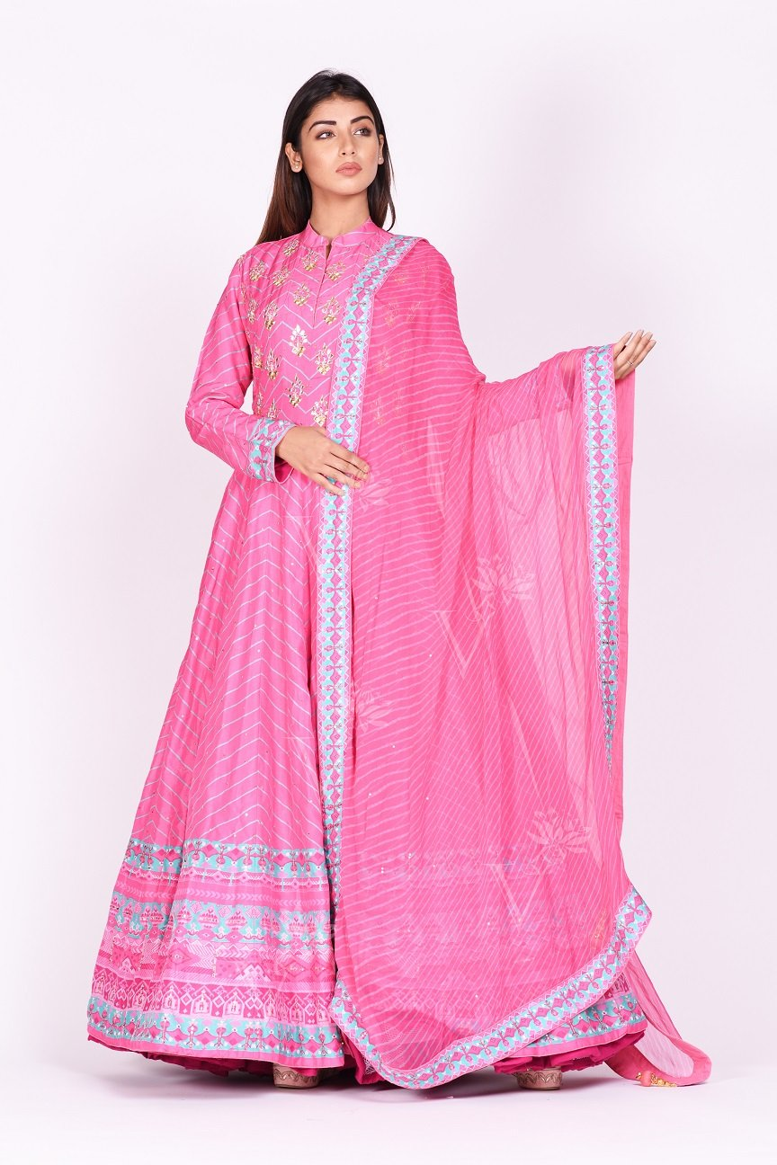Buy pink embroidered and printed chanderi silk Anarkali online in USA with dupatta. Make a stunning fashion statement at weddings and special occasions with an exquisite collection of designer Anarkali suits, traditional salwar suits, designer lehengas from Pure Elegance Indian fashion store in USA. -front