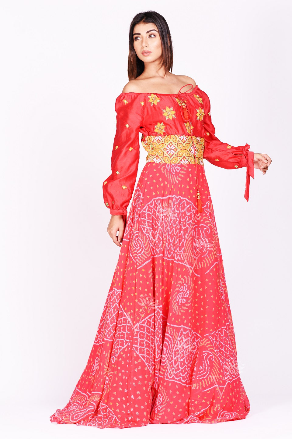 Shop stunning red printed off-shoulder georgettte gown online in USA. Make a stunning fashion statement at weddings and special occasions with an exquisite collection of designer Anarkali suits, traditional salwar suits, Indian designer dresses from Pure Elegance Indian fashion store in USA. -full view
