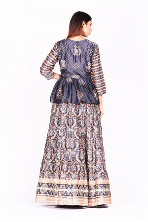 Buy dark grey embroidered and printed silk lehenga online in USA. Make a stunning fashion statement at weddings and special occasions with an exquisite collection of designer Anarkali suits, designer lehengas, Indian designer dresses from Pure Elegance Indian fashion store in USA. -back