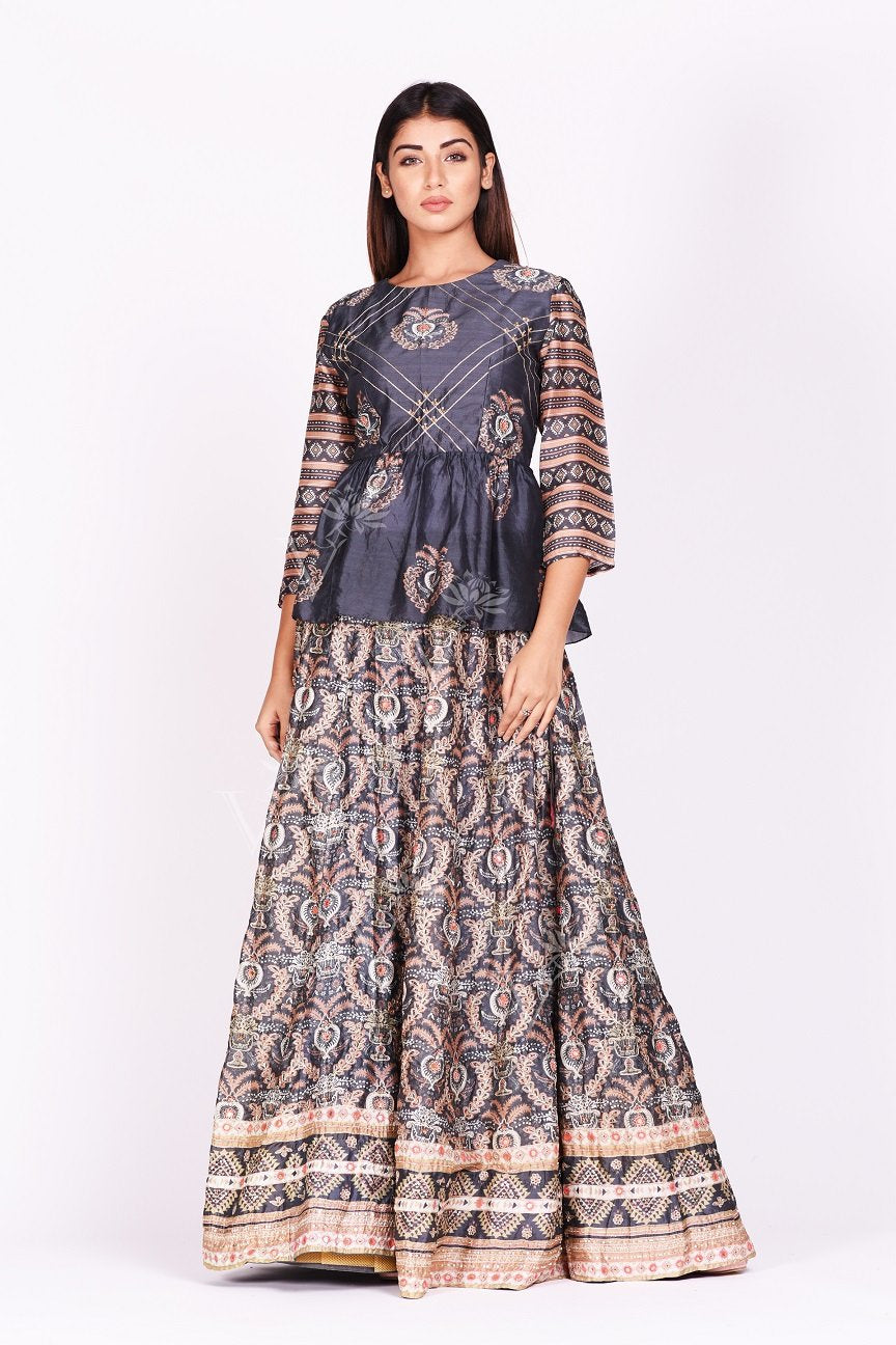 Buy dark grey embroidered and printed silk lehenga online in USA. Make a stunning fashion statement at weddings and special occasions with an exquisite collection of designer Anarkali suits, designer lehengas, Indian designer dresses from Pure Elegance Indian fashion store in USA. -without dupatta