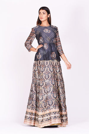 Buy dark grey embroidered and printed silk lehenga online in USA. Make a stunning fashion statement at weddings and special occasions with an exquisite collection of designer Anarkali suits, designer lehengas, Indian designer dresses from Pure Elegance Indian fashion store in USA. -side