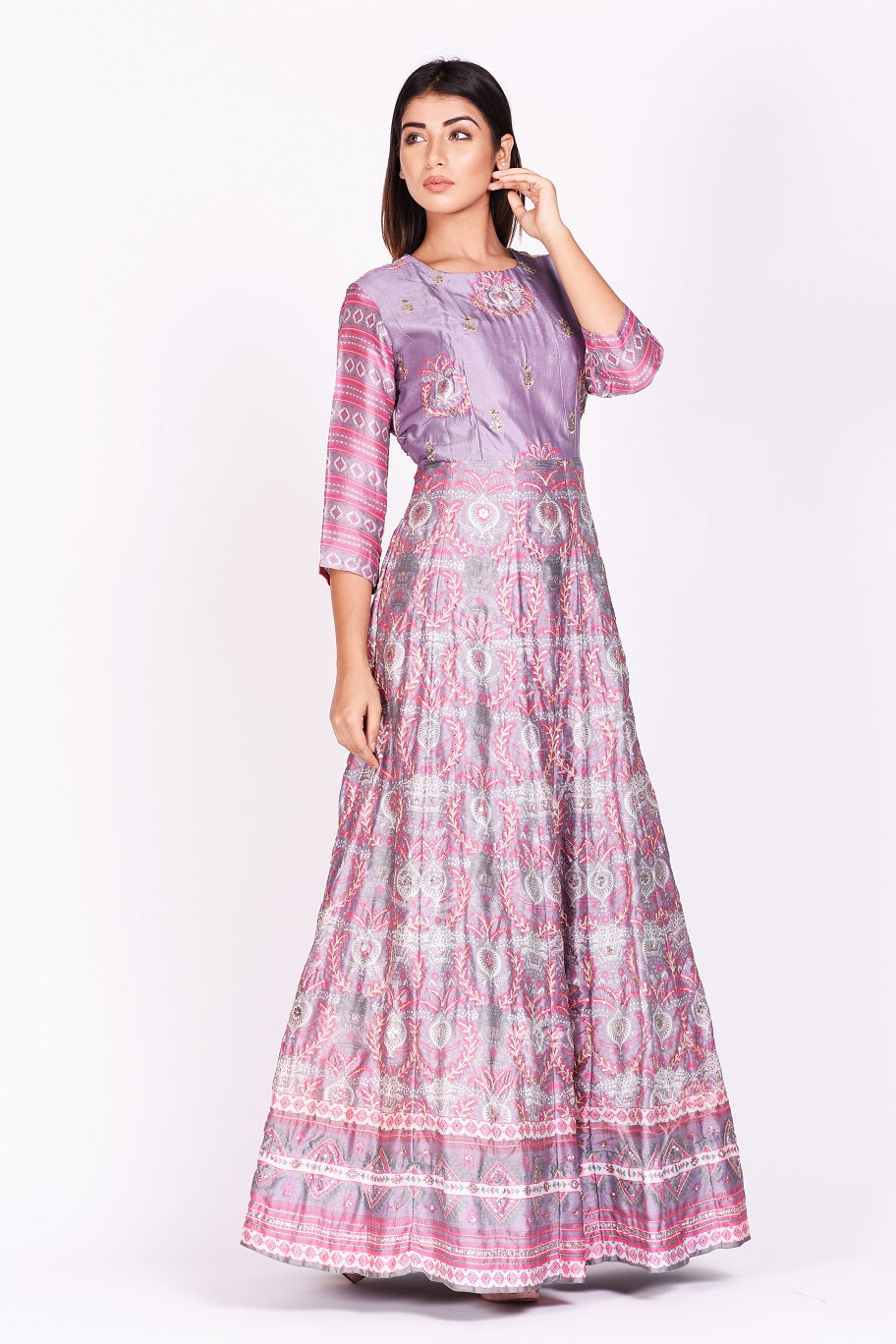 Shop lavender embroidered and printed silk Anarkali online in USA. Make a stunning fashion statement at weddings and special occasions with an exquisite collection of designer Anarkali suits, designer lehengas, Indian designer dresses from Pure Elegance Indian fashion store in USA. -side