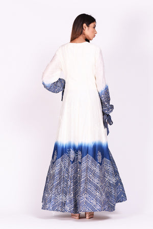 Shop ravishing white and blue printed chanderi silk Anarkali suit online in USA. Make a stunning fashion statement at weddings and special occasions with an exquisite collection of designer Anarkali suits, designer lehengas, Indian designer dresses from Pure Elegance Indian fashion store in USA. -back without dupatta