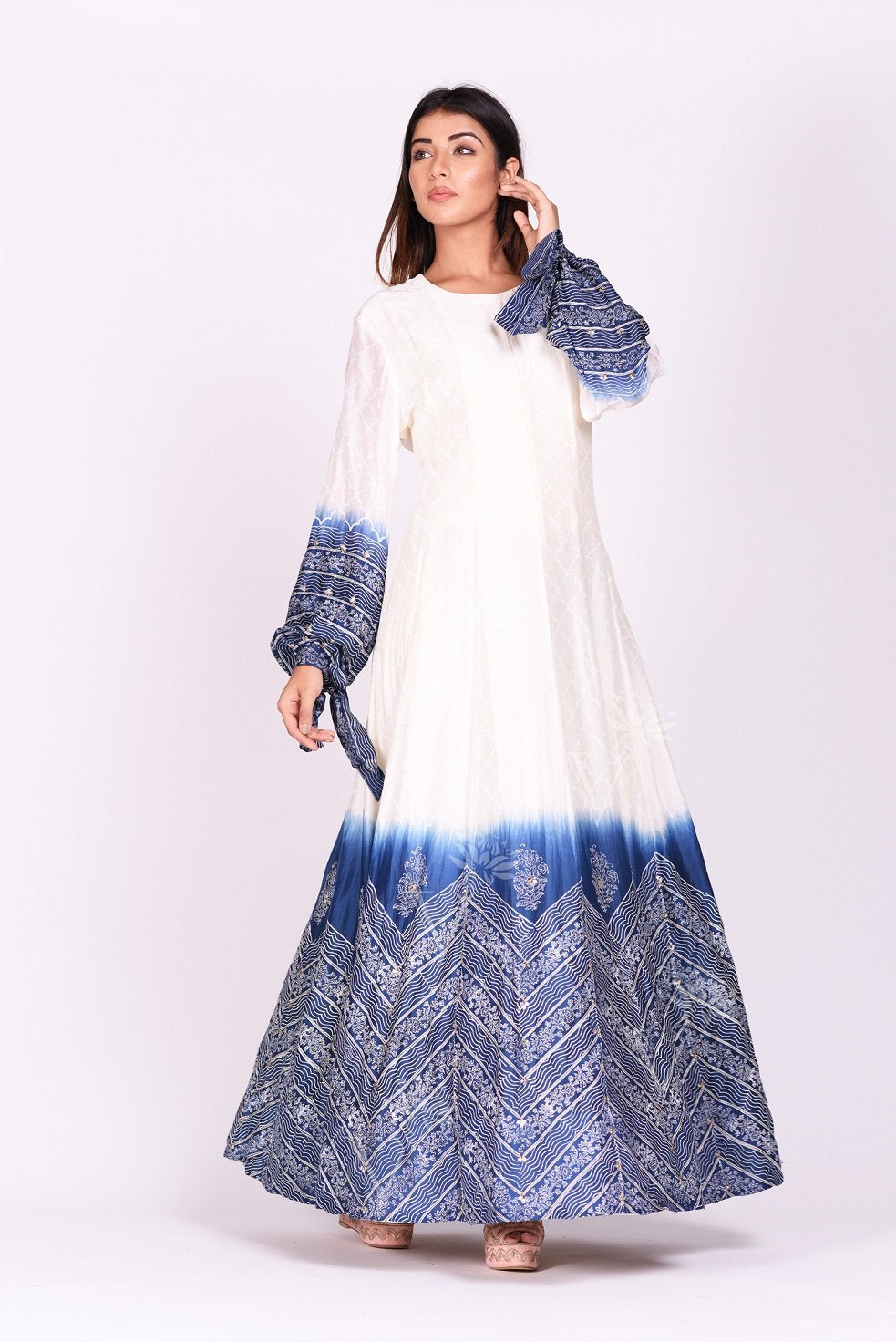 Shop ravishing white and blue printed chanderi silk Anarkali suit online in USA. Make a stunning fashion statement at weddings and special occasions with an exquisite collection of designer Anarkali suits, designer lehengas, Indian designer dresses from Pure Elegance Indian fashion store in USA. -side