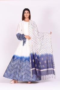 Shop ravishing white and blue printed chanderi silk Anarkali suit online in USA. Make a stunning fashion statement at weddings and special occasions with an exquisite collection of designer Anarkali suits, designer lehengas, Indian designer dresses from Pure Elegance Indian fashion store in USA. -full view
