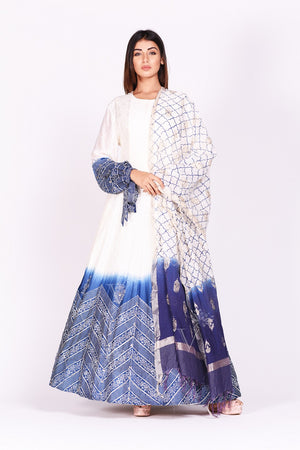 Shop ravishing white and blue printed chanderi silk Anarkali suit online in USA. Make a stunning fashion statement at weddings and special occasions with an exquisite collection of designer Anarkali suits, designer lehengas, Indian designer dresses from Pure Elegance Indian fashion store in USA. -front