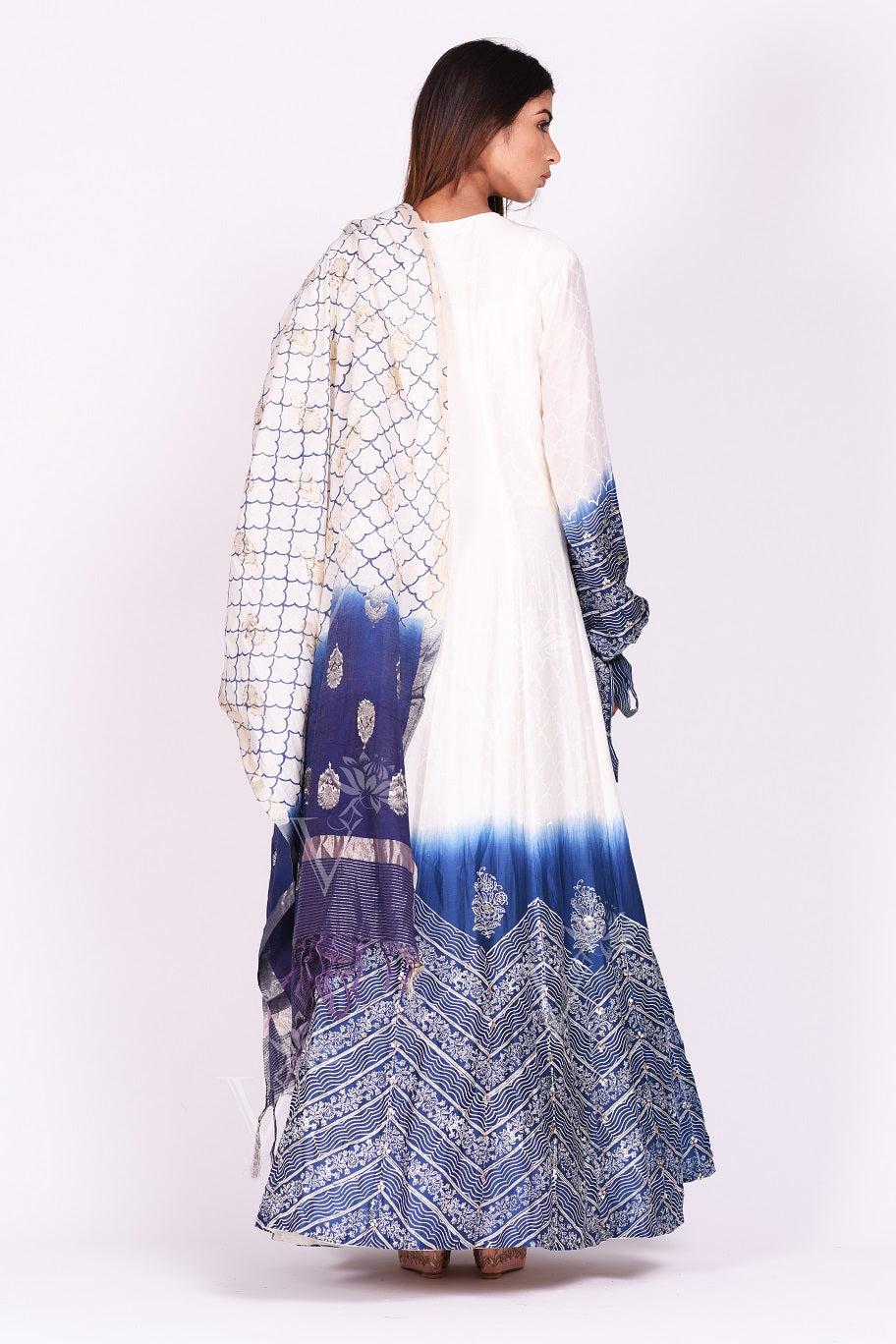 Shop ravishing white and blue printed chanderi silk Anarkali suit online in USA. Make a stunning fashion statement at weddings and special occasions with an exquisite collection of designer Anarkali suits, designer lehengas, Indian designer dresses from Pure Elegance Indian fashion store in USA. -back