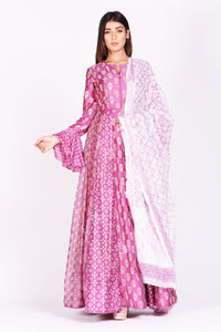 Shop lovely fuschia pink printed silk Anarkali suit online in USA with bell sleeves. Make a stunning fashion statement at weddings and special occasions with an exquisite collection of designer Anarkali suits, designer lehengas, Indian designer dresses from Pure Elegance Indian fashion store in USA. -full view