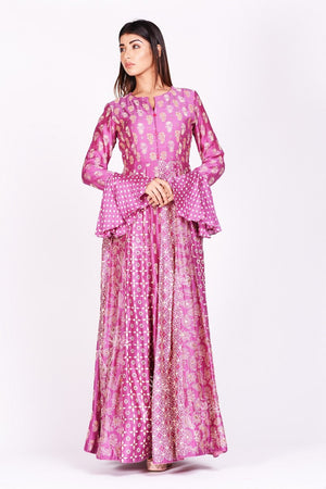 Shop lovely fuschia pink printed silk Anarkali suit online in USA with bell sleeves. Make a stunning fashion statement at weddings and special occasions with an exquisite collection of designer Anarkali suits, designer lehengas, Indian designer dresses from Pure Elegance Indian fashion store in USA. -without dupatta