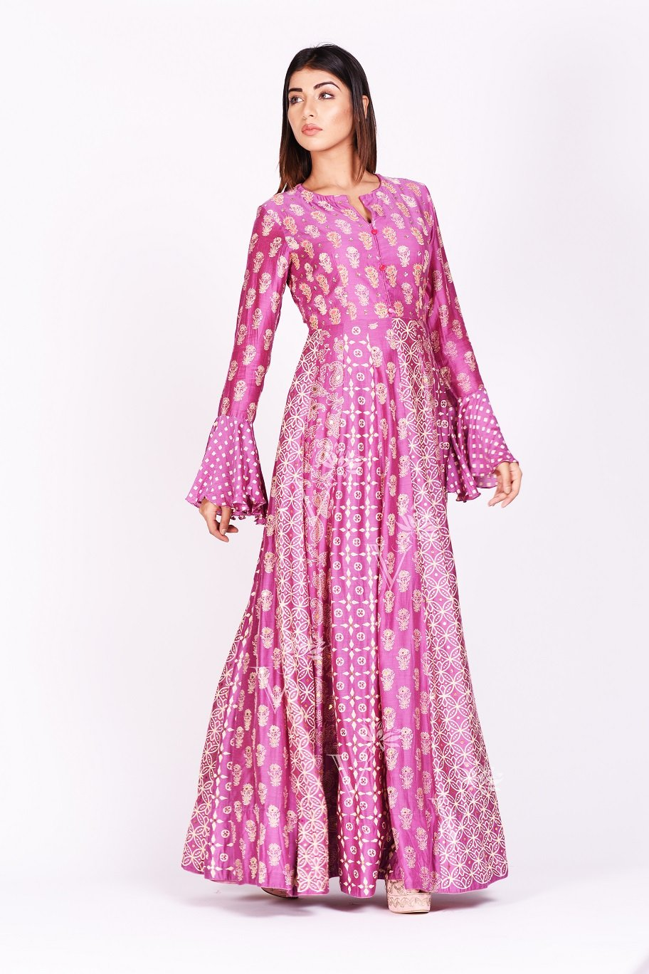 Shop lovely fuschia pink printed silk Anarkali suit online in USA with bell sleeves. Make a stunning fashion statement at weddings and special occasions with an exquisite collection of designer Anarkali suits, designer lehengas, Indian designer dresses from Pure Elegance Indian fashion store in USA. -sidepose