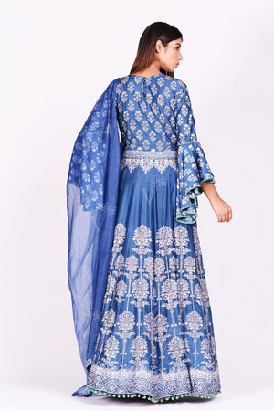 Buy stunning blue printed silk Anarkali suit online in USA with bell sleeves. Make a stunning fashion statement at weddings and special occasions with an exquisite collection of designer Anarkali suits, designer lehengas, Indian designer dresses from Pure Elegance Indian fashion store in USA. -back
