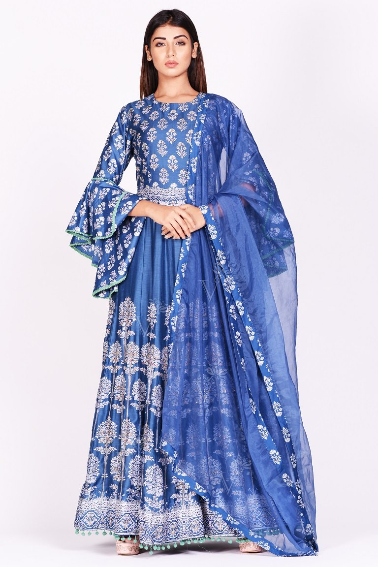 Buy stunning blue printed silk Anarkali suit online in USA with bell sleeves. Make a stunning fashion statement at weddings and special occasions with an exquisite collection of designer Anarkali suits, designer lehengas, Indian designer dresses from Pure Elegance Indian fashion store in USA. -front
