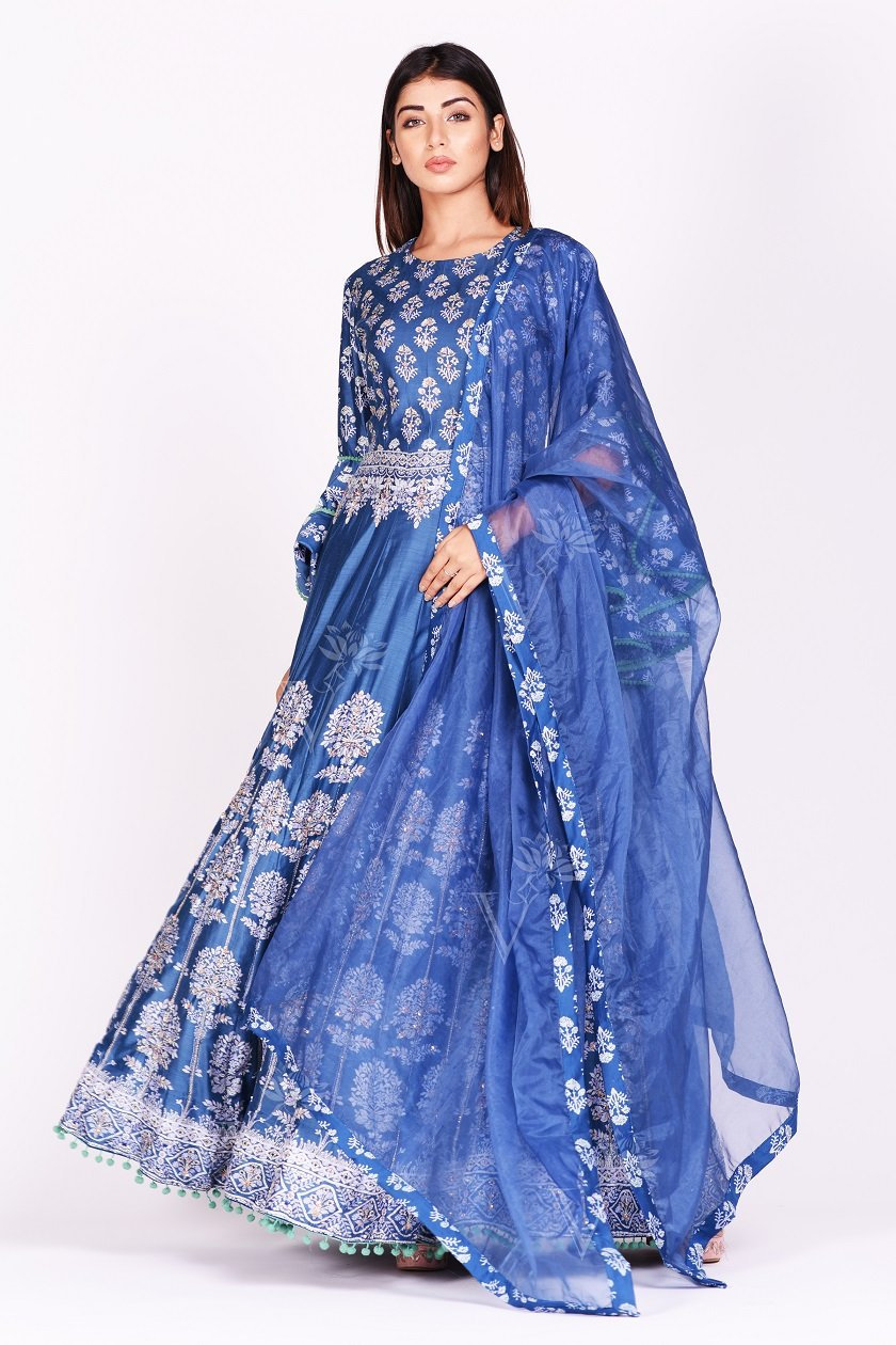 Buy stunning blue printed silk Anarkali suit online in USA with bell sleeves. Make a stunning fashion statement at weddings and special occasions with an exquisite collection of designer Anarkali suits, designer lehengas, Indian designer dresses from Pure Elegance Indian fashion store in USA. -full view