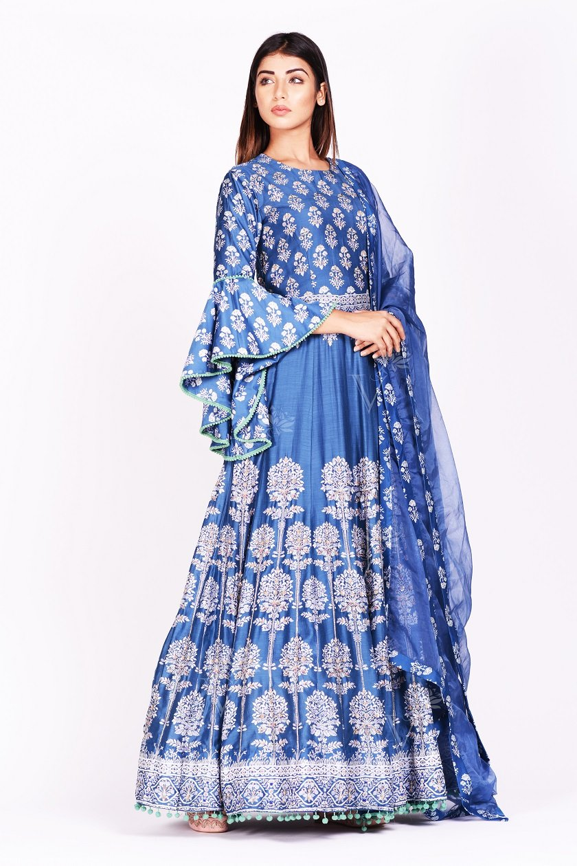 Buy stunning blue printed silk Anarkali suit online in USA with bell sleeves. Make a stunning fashion statement at weddings and special occasions with an exquisite collection of designer Anarkali suits, designer lehengas, Indian designer dresses from Pure Elegance Indian fashion store in USA. -side