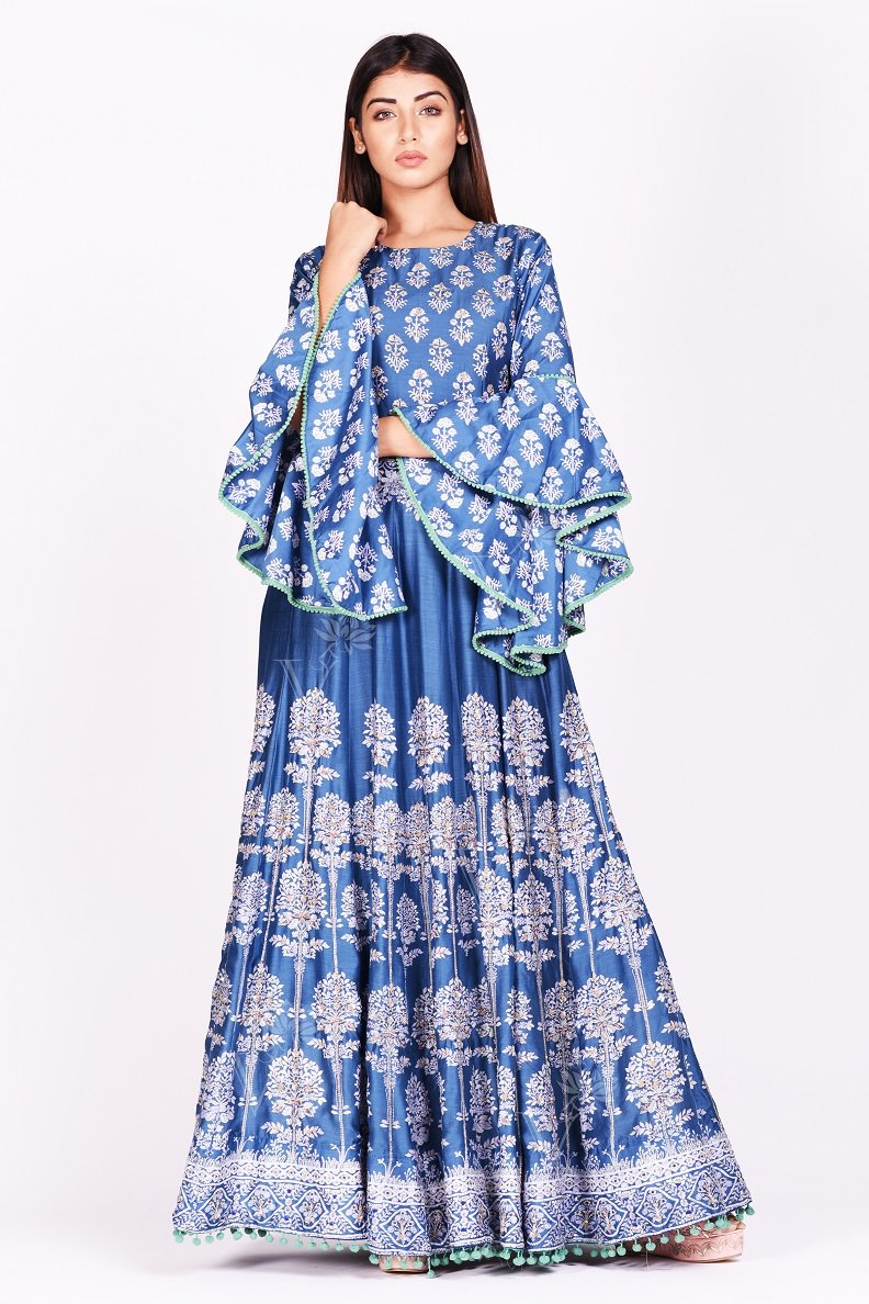 Buy stunning blue printed silk Anarkali suit online in USA with bell sleeves. Make a stunning fashion statement at weddings and special occasions with an exquisite collection of designer Anarkali suits, designer lehengas, Indian designer dresses from Pure Elegance Indian fashion store in USA. -without dupatta