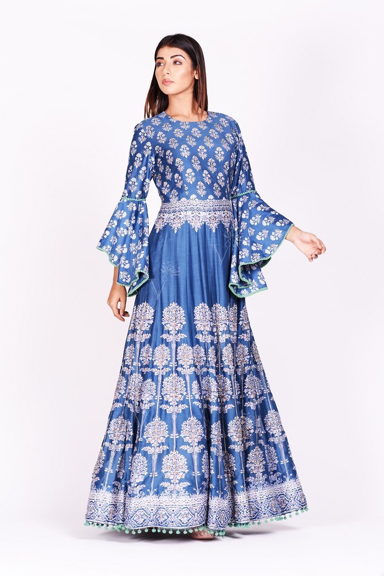 Buy stunning blue printed silk Anarkali suit online in USA with bell sleeves. Make a stunning fashion statement at weddings and special occasions with an exquisite collection of designer Anarkali suits, designer lehengas, Indian designer dresses from Pure Elegance Indian fashion store in USA. -side pose