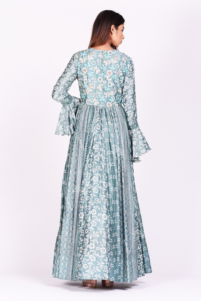Shop gorgeous sage green printed silk Anarkali dress online in USA with bell sleeves. Make a stunning fashion statement at weddings and special occasions with an exquisite collection of designer Anarkali suits, designer lehengas, Indian designer dresses from Pure Elegance Indian fashion store in USA. -back