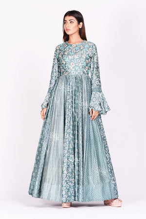 Shop gorgeous sage green printed silk Anarkali dress online in USA with bell sleeves. Make a stunning fashion statement at weddings and special occasions with an exquisite collection of designer Anarkali suits, designer lehengas, Indian designer dresses from Pure Elegance Indian fashion store in USA. -front