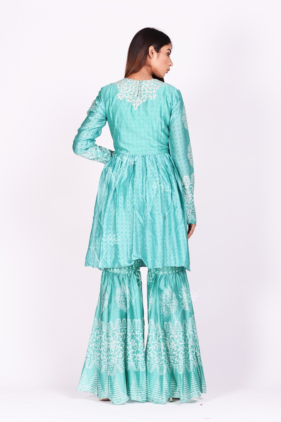 Buy stunning mint green printed silk sharara set online in USA. Make a stunning fashion statement at weddings and special occasions with an exquisite collection of designer Anarkali suits, designer lehengas, Indian designer dresses from Pure Elegance Indian fashion store in USA. -back