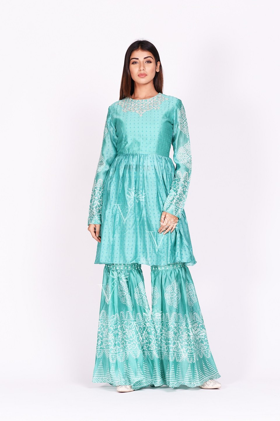 Buy stunning mint green printed silk sharara set online in USA. Make a stunning fashion statement at weddings and special occasions with an exquisite collection of designer Anarkali suits, designer lehengas, Indian designer dresses from Pure Elegance Indian fashion store in USA. -front