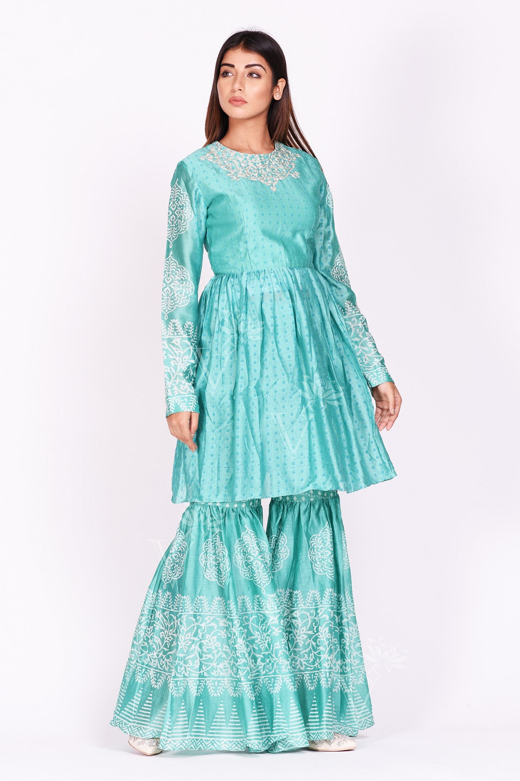 Buy stunning mint green printed silk sharara set online in USA. Make a stunning fashion statement at weddings and special occasions with an exquisite collection of designer Anarkali suits, designer lehengas, Indian designer dresses from Pure Elegance Indian fashion store in USA. -side