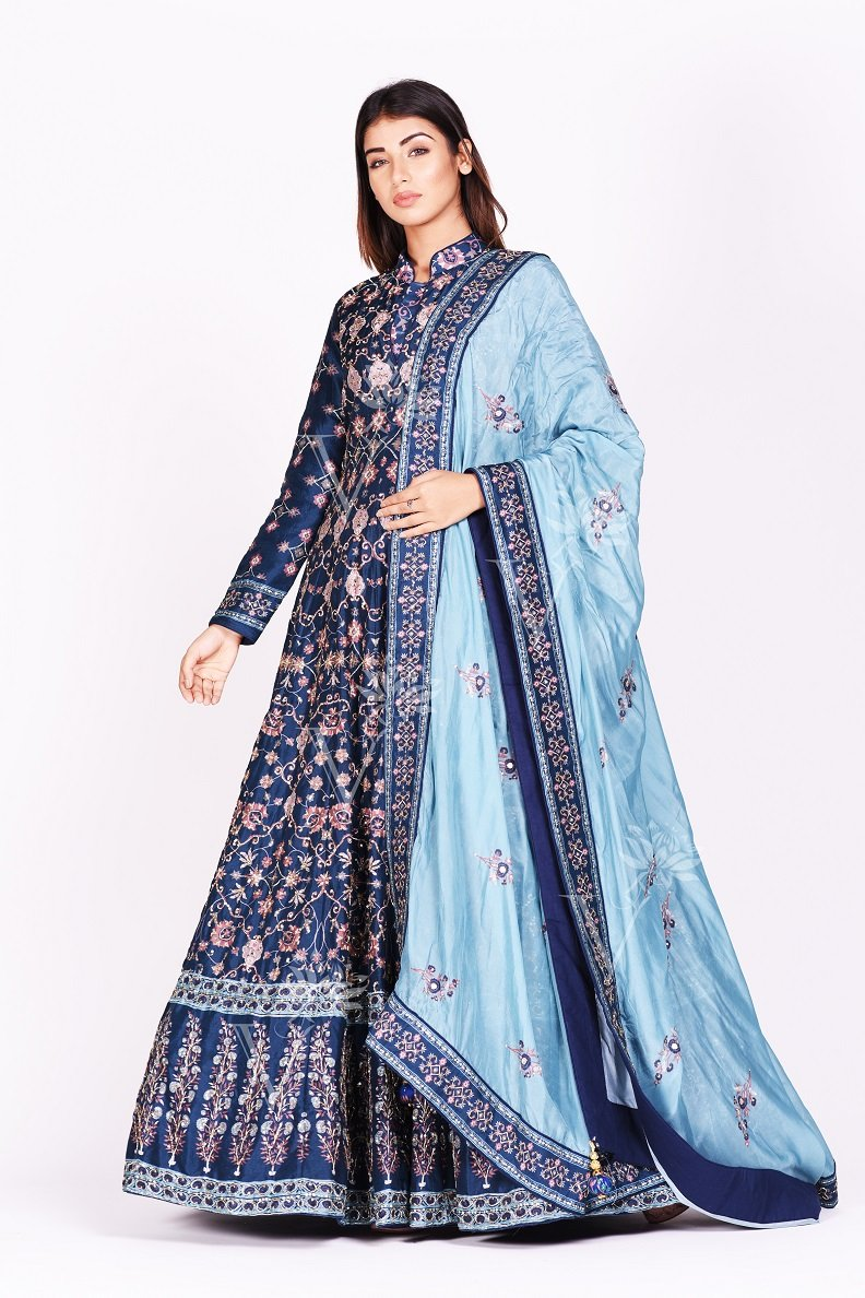 Buy beautiful navy blue printed embroidered silk Anarkali suit online in USA with dupatta. Make a stunning fashion statement at weddings and special occasions with an exquisite collection of designer Anarkali suits, designer lehengas, Indian designer dresses from Pure Elegance Indian fashion store in USA. -full view