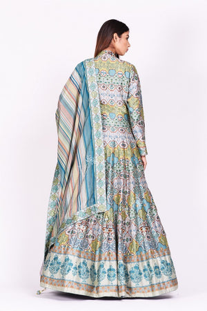 Buy exquisite grey and blue printed embroidered silk Anarkali online in USA with dupatta. Make a stunning fashion statement at weddings and special occasions with an exquisite collection of designer Anarkali suits, designer lehengas, Indian designer dresses from Pure Elegance Indian fashion store in USA. -backpose