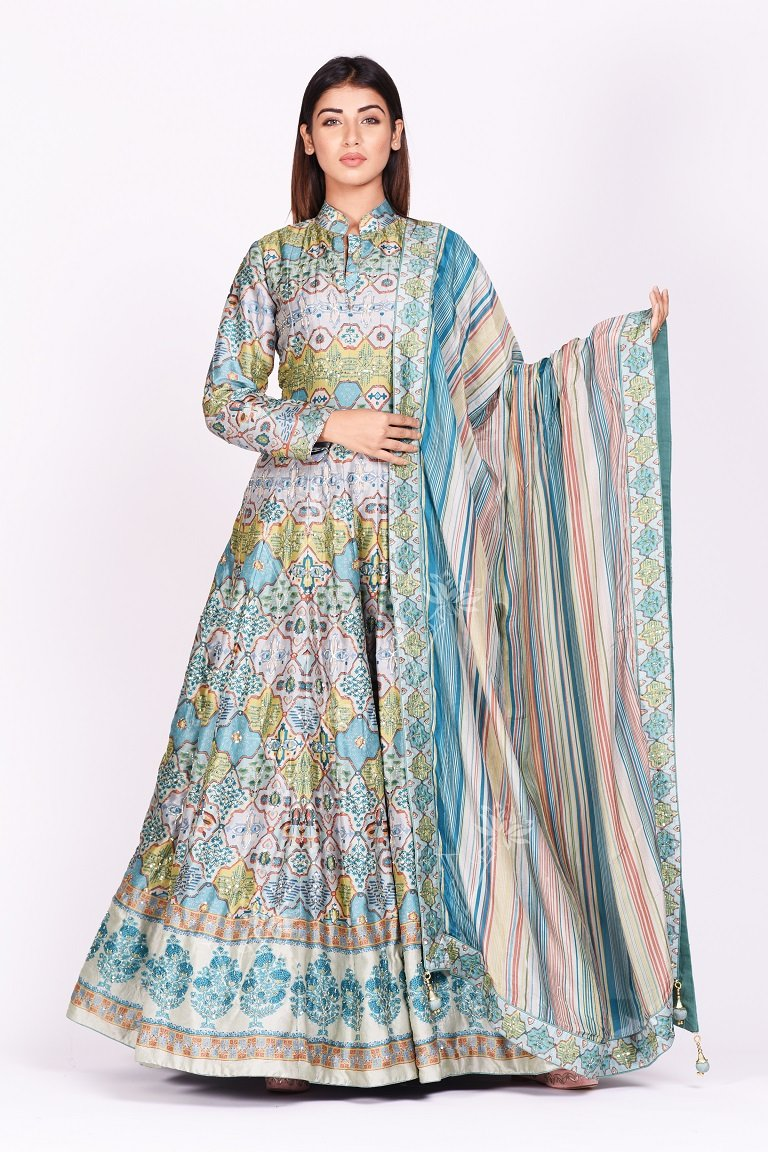 Buy exquisite grey and blue printed embroidered silk Anarkali online in USA with dupatta. Make a stunning fashion statement at weddings and special occasions with an exquisite collection of designer Anarkali suits, designer lehengas, Indian designer dresses from Pure Elegance Indian fashion store in USA. -frontpose