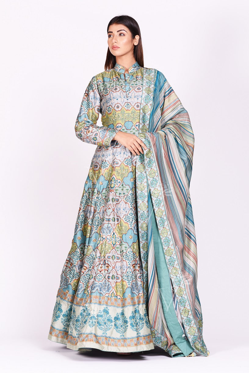 Buy exquisite grey and blue printed embroidered silk Anarkali online in USA with dupatta. Make a stunning fashion statement at weddings and special occasions with an exquisite collection of designer Anarkali suits, designer lehengas, Indian designer dresses from Pure Elegance Indian fashion store in USA. -full view