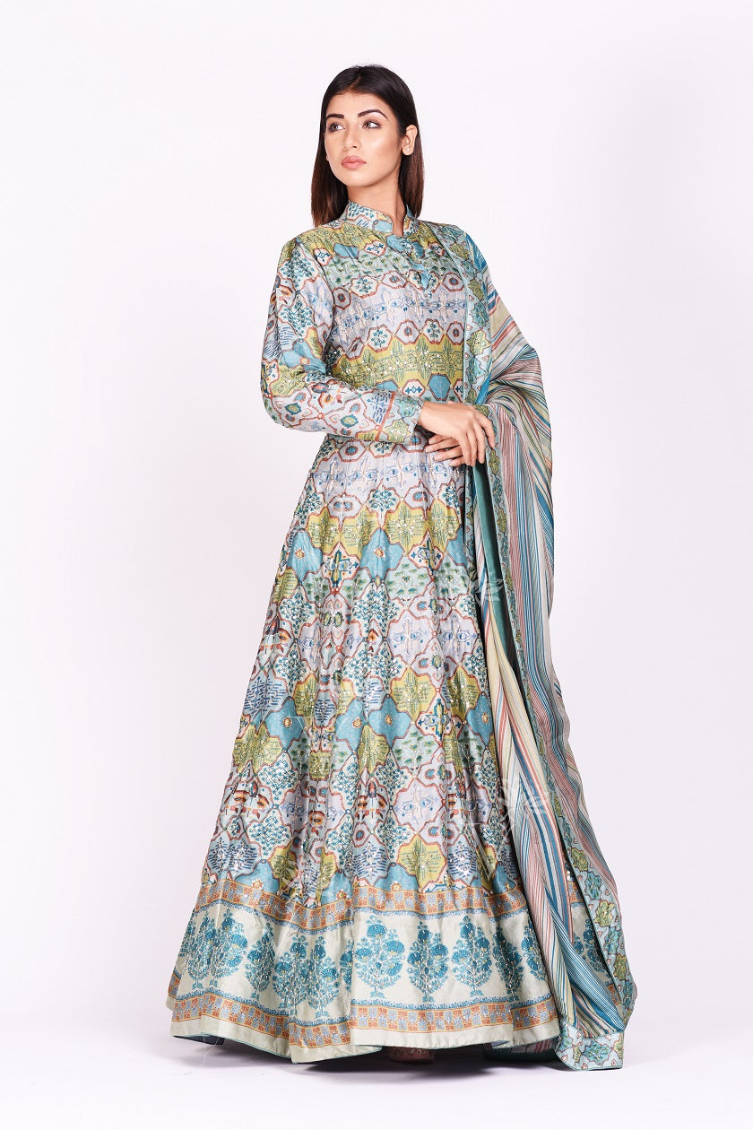 Buy exquisite grey and blue printed embroidered silk Anarkali online in USA with dupatta. Make a stunning fashion statement at weddings and special occasions with an exquisite collection of designer Anarkali suits, designer lehengas, Indian designer dresses from Pure Elegance Indian fashion store in USA. -front