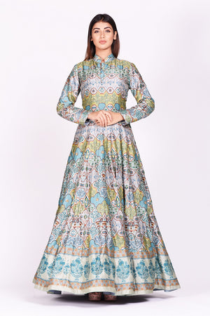 Buy exquisite grey and blue printed embroidered silk Anarkali online in USA with dupatta. Make a stunning fashion statement at weddings and special occasions with an exquisite collection of designer Anarkali suits, designer lehengas, Indian designer dresses from Pure Elegance Indian fashion store in USA. -without dupatta