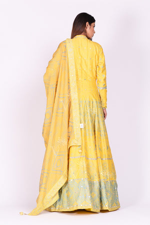 Shop yellow printed and mirror embroidery silk Anarkali online in USA with dupatta. Make a stunning fashion statement at weddings and special occasions with an exquisite collection of designer Anarkali suits, designer lehengas, Indian designer dresses from Pure Elegance Indian fashion store in USA. -back