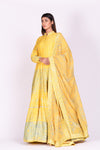 Shop yellow printed and mirror embroidery silk Anarkali online in USA with dupatta. Make a stunning fashion statement at weddings and special occasions with an exquisite collection of designer Anarkali suits, designer lehengas, Indian designer dresses from Pure Elegance Indian fashion store in USA. -full view