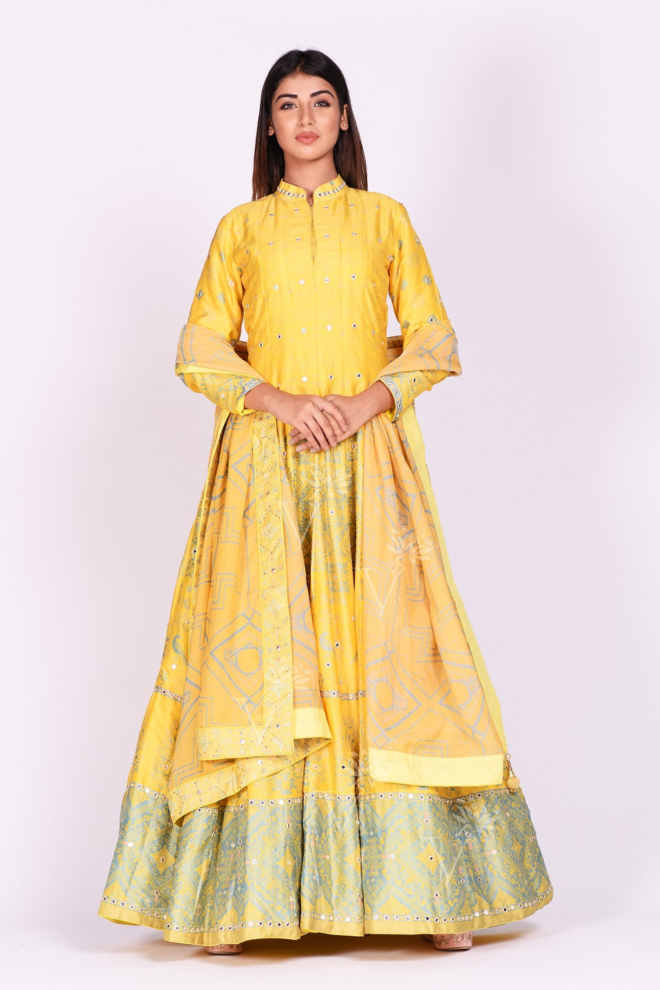 Shop yellow printed and mirror embroidery silk Anarkali online in USA with dupatta. Make a stunning fashion statement at weddings and special occasions with an exquisite collection of designer Anarkali suits, designer lehengas, Indian designer dresses from Pure Elegance Indian fashion store in USA. -front