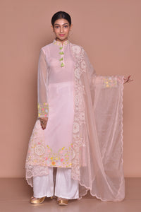Shop powder pink embroidered palazzo suit online in USA with dupatta. Be occasion ready with exquisite range of designer salwar suits, Anarkali suits from Pure Elegance Indian boutique in USA.-full view