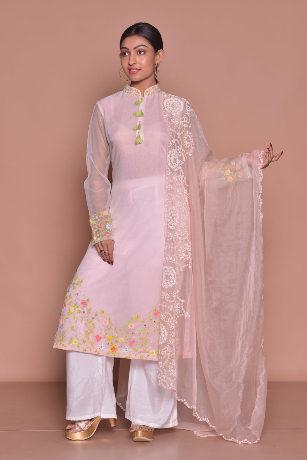 Shop powder pink embroidered palazzo suit online in USA with dupatta. Be occasion ready with exquisite range of designer salwar suits, Anarkali suits from Pure Elegance Indian boutique in USA.-front