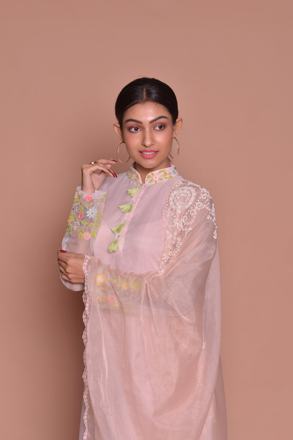 Shop powder pink embroidered palazzo suit online in USA with dupatta. Be occasion ready with exquisite range of designer salwar suits, Anarkali suits from Pure Elegance Indian boutique in USA.-closeup