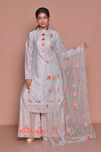 Buy lovely white embroidered palazzo suit online in USA with embroidered dupatta. Be occasion ready with exquisite range of designer salwar suits, Anarkali suits from Pure Elegance Indian boutique in USA.-full view