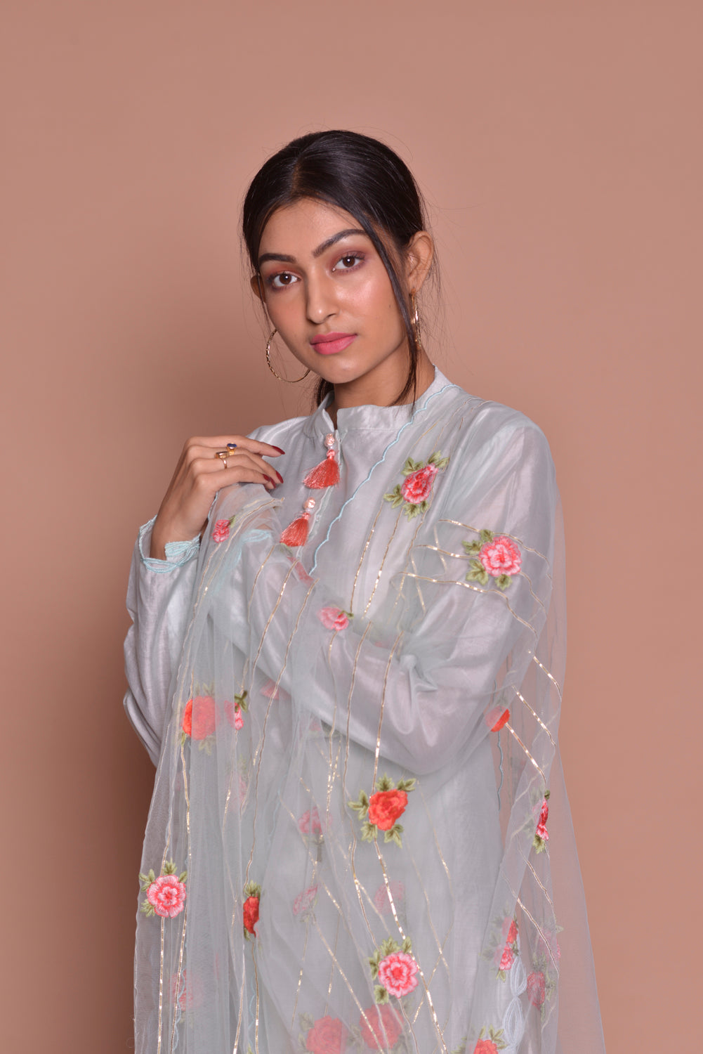 Buy lovely white embroidered palazzo suit online in USA with embroidered dupatta. Be occasion ready with exquisite range of designer salwar suits, Anarkali suits from Pure Elegance Indian boutique in USA.-closeup