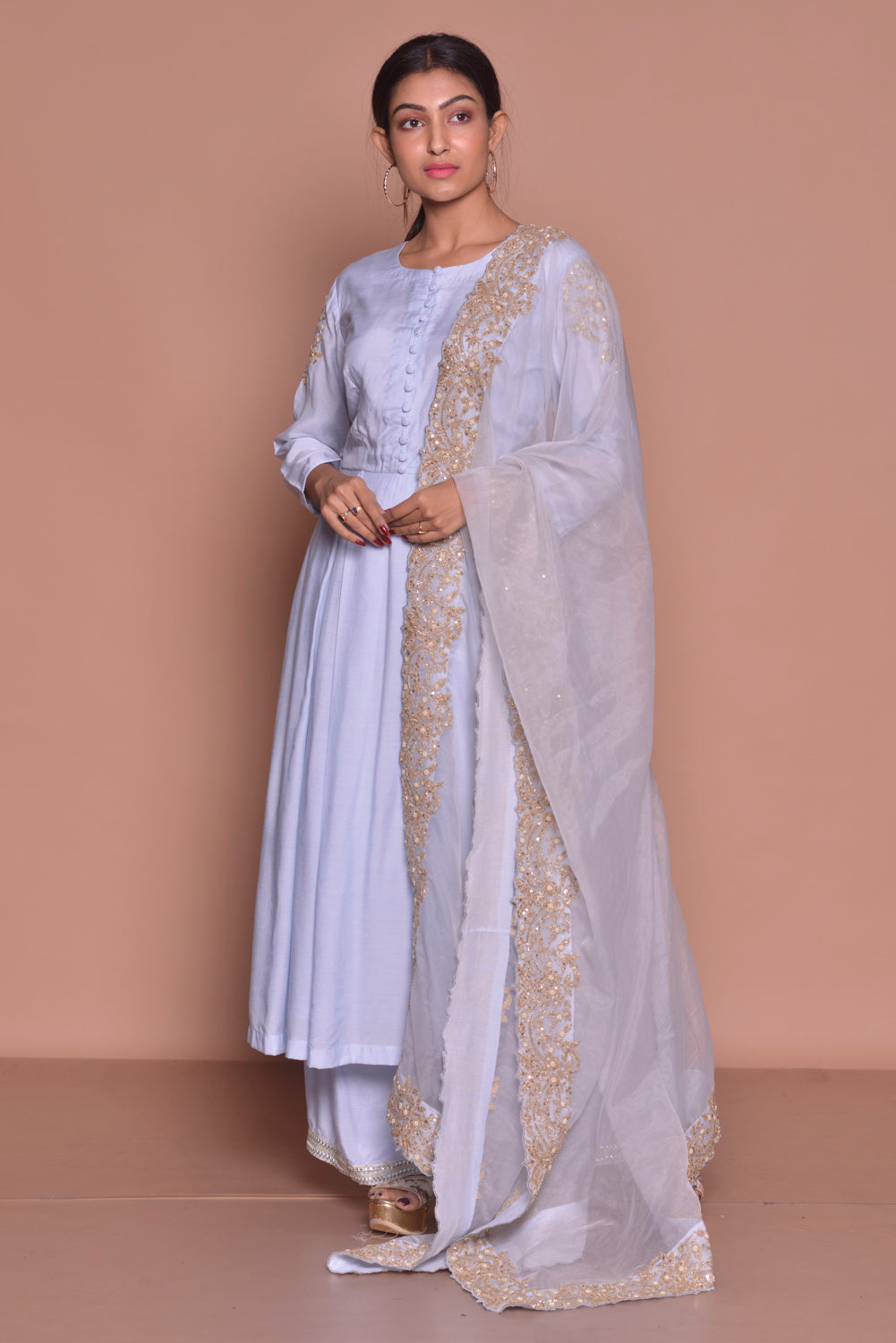 Shop lilac embroidered suit online in USA with palazzo and dupatta. Be occasion ready with exquisite range of designer salwar suits, Anarkali suits from Pure Elegance Indian boutique in USA.-front