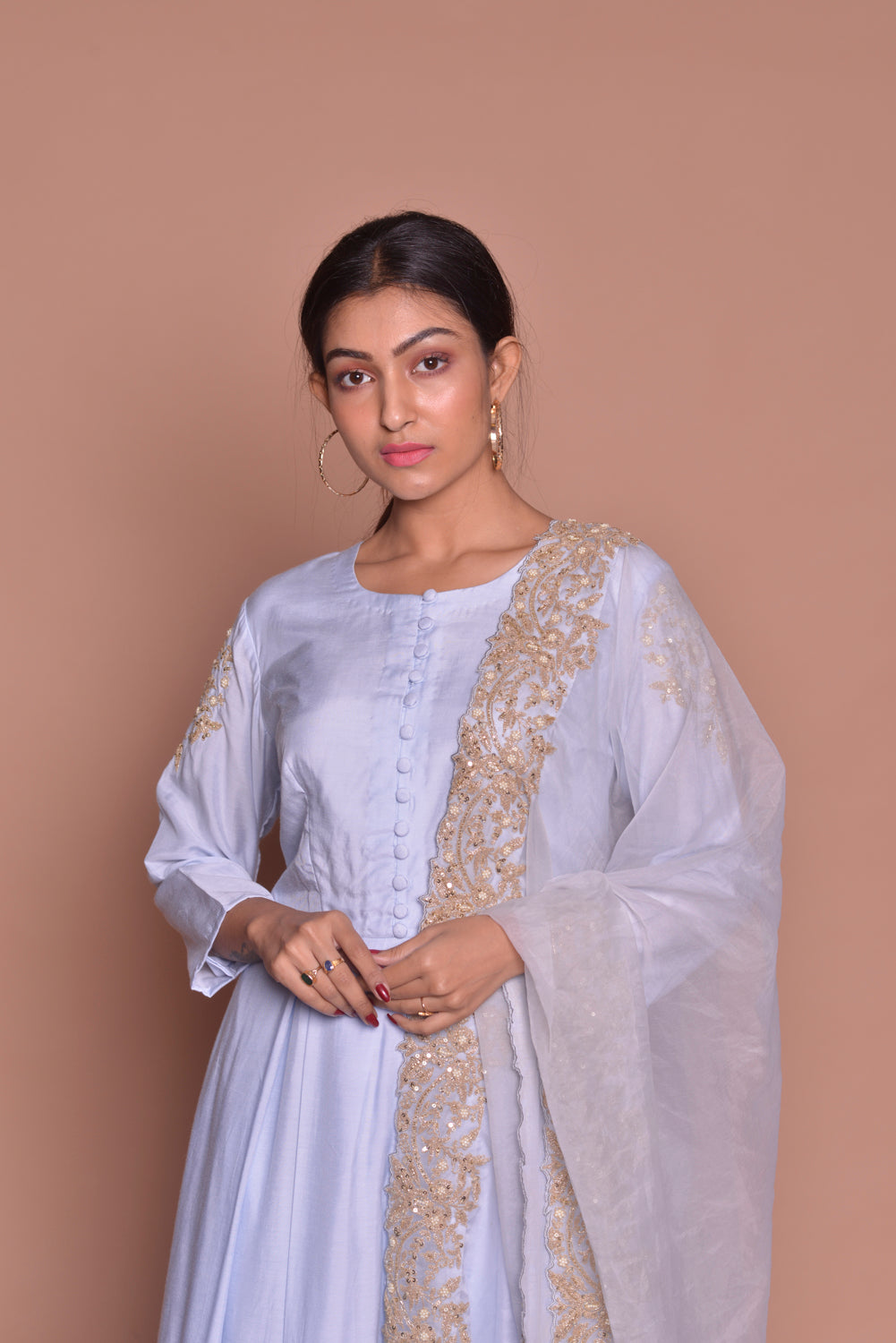 Shop lilac embroidered suit online in USA with palazzo and dupatta. Be occasion ready with exquisite range of designer salwar suits, Anarkali suits from Pure Elegance Indian boutique in USA.-closeup
