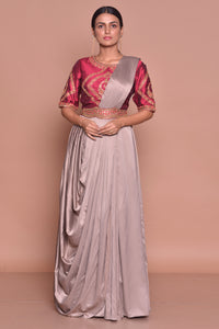 Buy stunning grey embroidered designer draped sari online in USA with maroon embroidered saree blouse. Flaunt Indian fashion with exquisite designer sarees, embroidered sarees, partywear saris from Pure Elegance Indian cloth store in USA. -full view