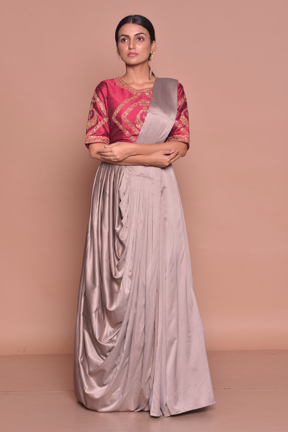 Buy stunning grey embroidered designer draped sari online in USA with maroon embroidered saree blouse. Flaunt Indian fashion with exquisite designer sarees, embroidered sarees, partywear saris from Pure Elegance Indian cloth store in USA. -side