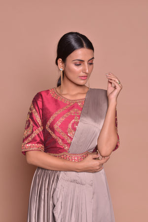 Buy stunning grey embroidered designer draped sari online in USA with maroon embroidered saree blouse. Flaunt Indian fashion with exquisite designer sarees, embroidered sarees, partywear saris from Pure Elegance Indian cloth store in USA. -closeup